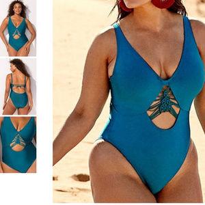 Ashley Graham macrame MEKNES swimsuit 89L3*